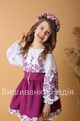 Вишиванка для дівчинки  ПТАШЕЧКА в кольорі фукція