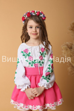 Вишиванка для дівчинки ТРОЯНДА в рожевому кольорі