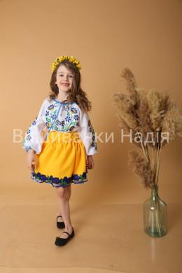Вишиванка для дівчинки  ВЕСНЯНІ ПРОЛІСКИ в жовто-блакитному кольорі