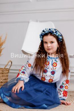 Вишиванка для дівчинки  ВЕСЕЛКА в синьому кольорі