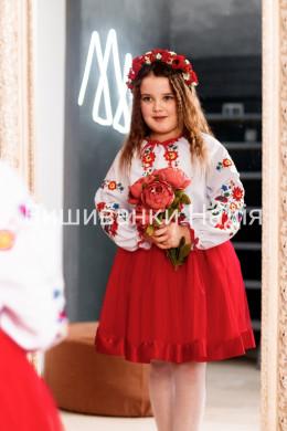 Вишиванка для дівчинки  ВЕСЕЛКА в червоному кольорі