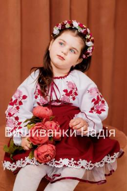 Вишиванка для дівчинки ТРОЯНДА в бордовому кольорі