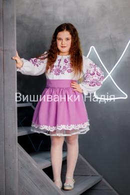 Вишиванка для дівчинки  ПТАШЕЧКА в бузковому кольорі