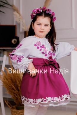 Вишиванка для дівчинки ТРОЯНДА в фіолетовому кольорі