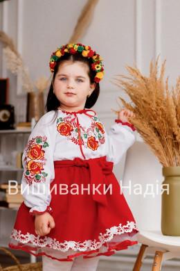 Вишиванка для дівчинки ДЗВІНКИЙ БУКЕТ в червоному кольорі