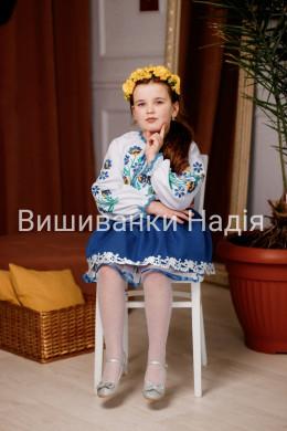 Вишиванка для дівчинки  ВЕСНЯНІ ПРОЛІСКИ з синьою спідницею