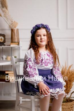 Вишиванка для дівчинки  ПТАШЕЧКА в фіолетовому кольорі