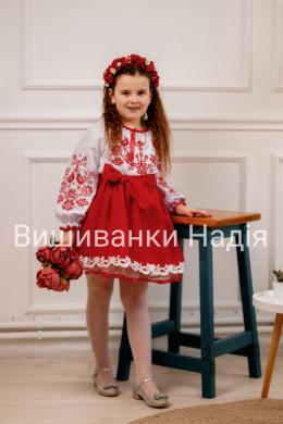 Вишиванка для дівчинки  ПТАШЕЧКА в червоному кольорі