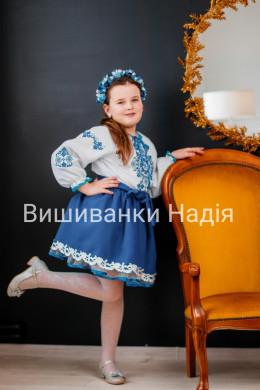 Вишиванка для дівчинки ГРАЦІЯ синьому кольорі