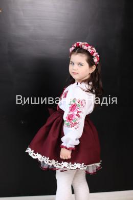 Вишиванка для дівчинки ДЗВІНКИЙ БУКЕТ в бордово-рожевому кольорі
