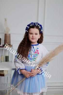 Вишиванка для дівчинки РОМАШЕЧКА в голубому кольорі