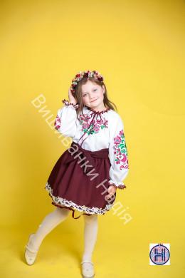 Вишиванка для дівчинки МАТУСИНА ПТАШЕЧКА в бордовому кольорі
