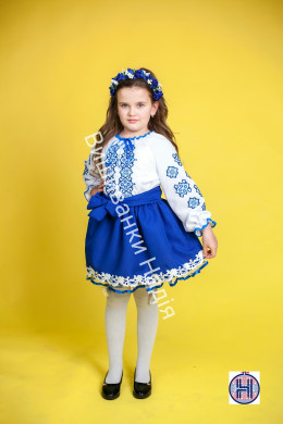Вишиванка для дівчинки ГЕОМЕТРІЯ в синьому кольорі