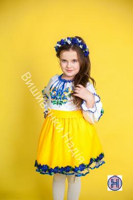 Вишиванка для дівчинки МАТУСИНА ПТАШЕЧКА в жовто-блакитному кольорі