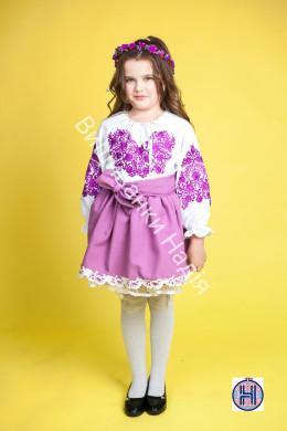 Вишиванка для дівчинки ПАННОЧКА у бузково-фіолетовому кольорі