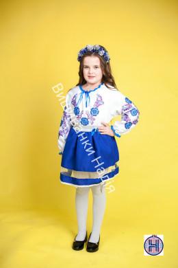 Вишиванка для дівчинки ОРНАМЕНТ в синьому кольорі