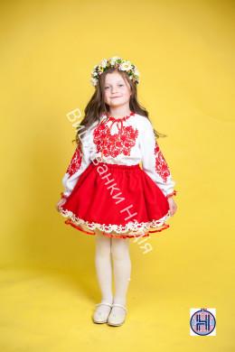 Вишиванка для дівчинки ПАННОЧКА у червоному кольорі