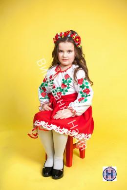 Вишиванка для дівчинки ТРОЯНДА в червоному кольорі