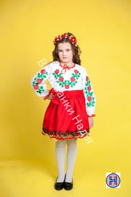 Вишиванка для дівчинки ТРОЯНДА СЯЙВО в червоному кольорі