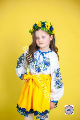 Вишиванка для дівчинки УКРАЇНОЧКА в синьо-жовтому кольорі