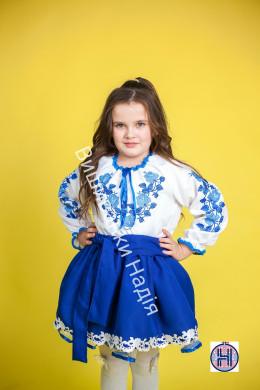Вишиванка для дівчинки ТРОЯНДА в синьому кольорі