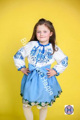 Вишиванка для дівчинки ДЕРЕВО ЖИТТЯ в голубому кольорі