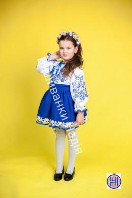 Вишиванка для дівчинки  ПТАШЕЧКА в синьому кольорі