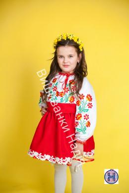 Вишиванка для дівчинки ВЕСНЯНІ ПРОЛІСКИ в червоному кольорі