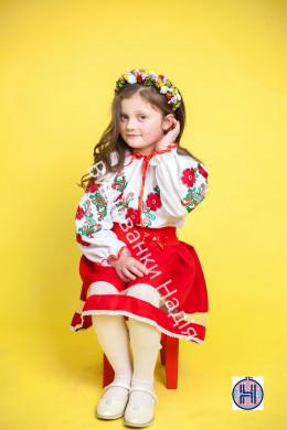 Вишиванка для дівчинки  ОРНАМЕНТ в червоному кольорі