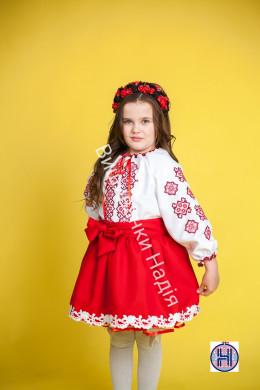 Вишиванка для дівчинки ГЕОМЕТРІЯ в червоному кольорі