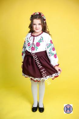 Вишиванка для дівчинки ОРНАМЕНТ в бордовому стилі