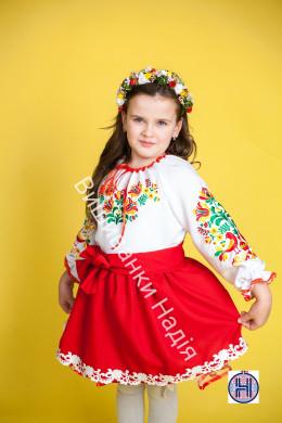 Вишиванка для дівчинки МАТУСИНА ПТАШЕЧКА в червоному кольорі