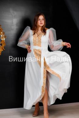 Вишита жіноча сукня МЕЛОДІЯ ДВОХ СЕРДЕЦЬ в золотому кольорі