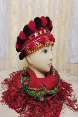 Чільце-корона в кольоровій гаммі (червоний-бордовий)