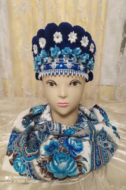 Чільце-корона в кольоровій гаммі(синя з квітами)