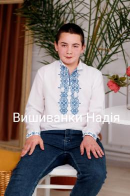 Вишиванка для хлопчика ГЕОМЕТРІЯ синьому кольорі